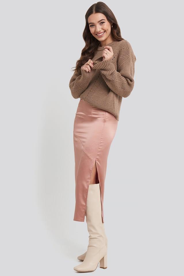 Split Seam Satin Midi Skirt Dark Pink