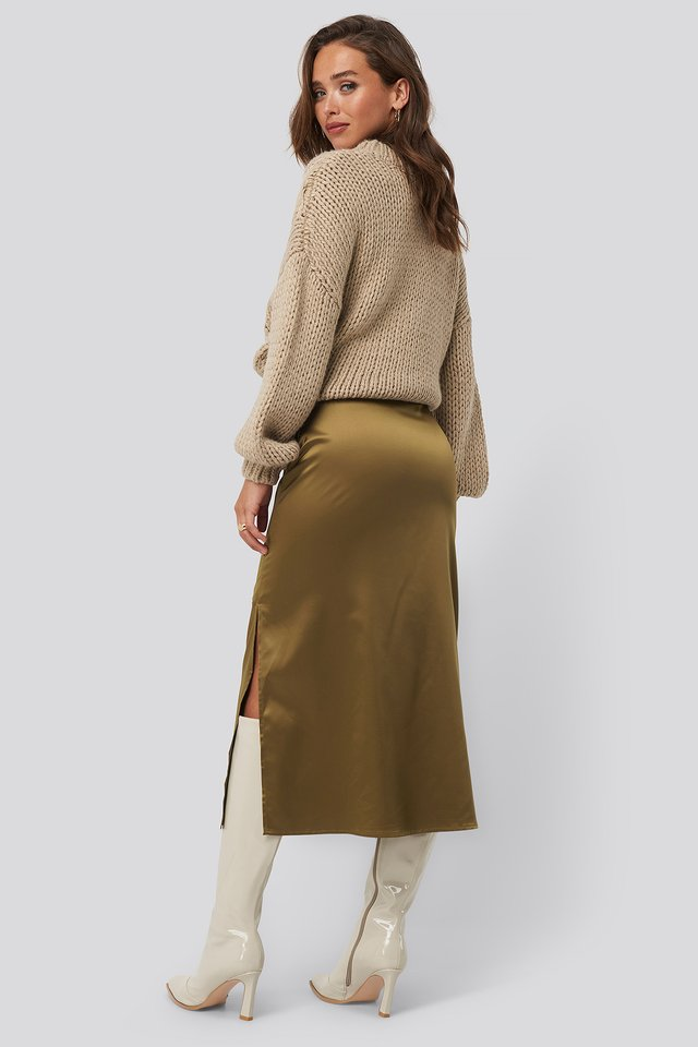 Split Seam Satin Midi Skirt Brown