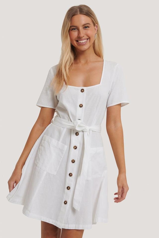 Robe Mini À Col Carré White