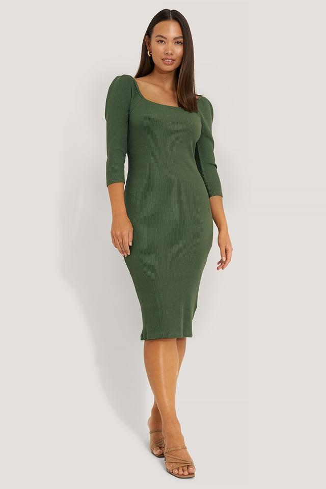 Green Square Neck Puff Sleeve Rib Dress