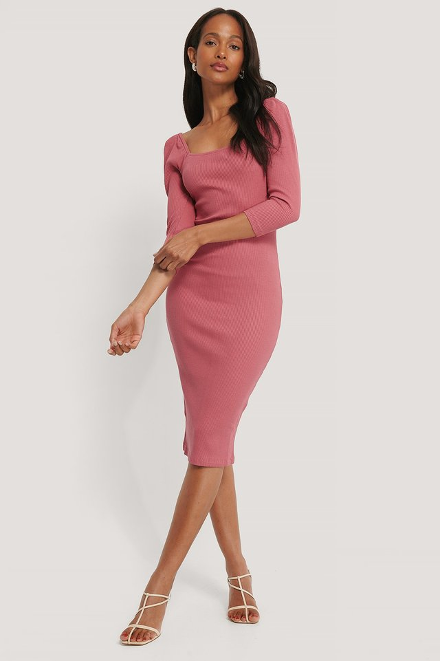 Square Neck Puff Sleeve Rib Dress Dark Rose