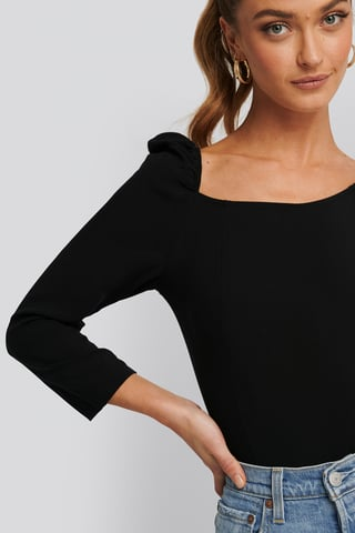 Black Square Neck Puffy Sleeve Top