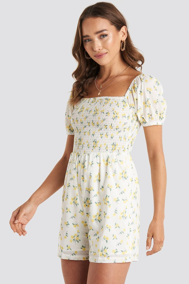 Square Neck Shirred Playsuit Yellow Flower