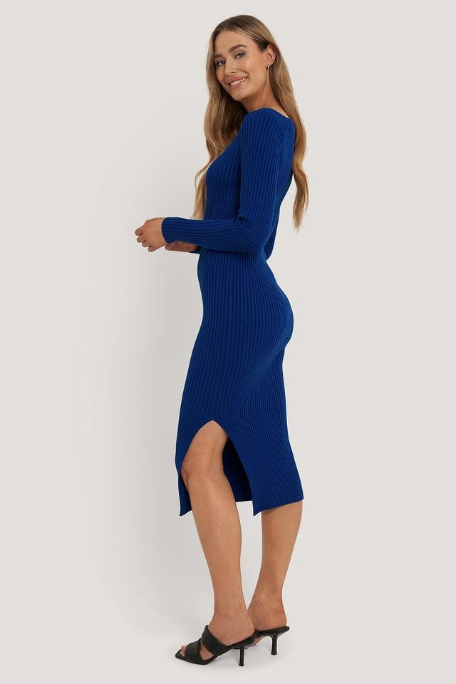 Robe Midi Côtelée Blue
