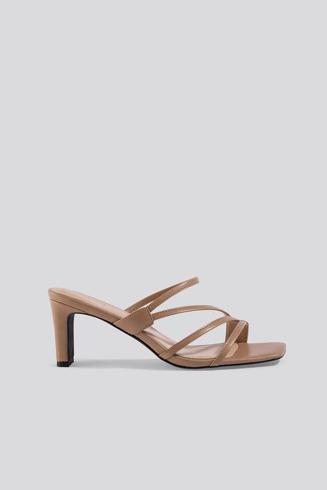Beige Squared Strappy Sandals