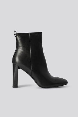Black Squared Toe Slim Heel Boots