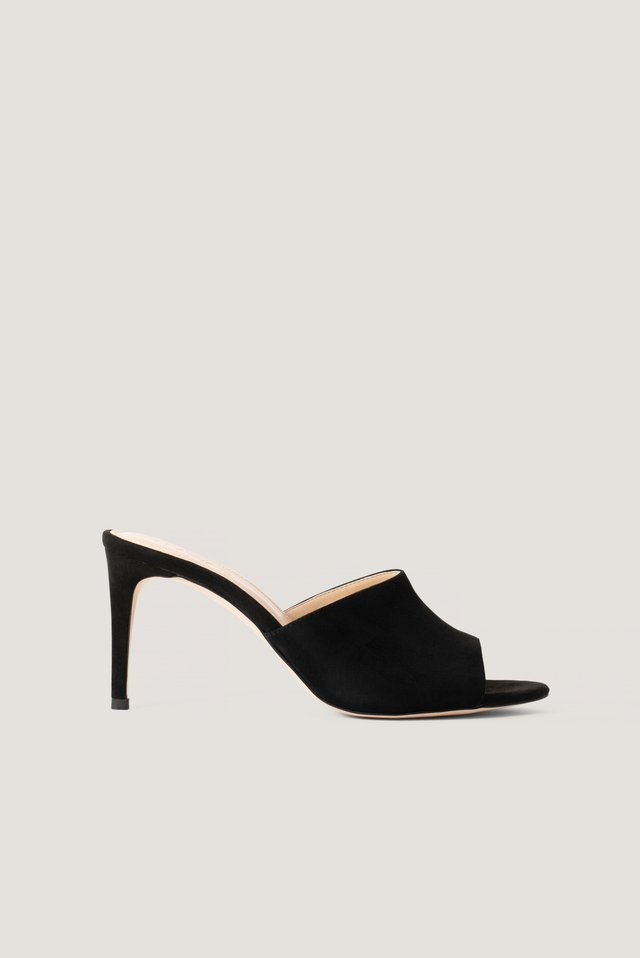 Black Stiletto Mules