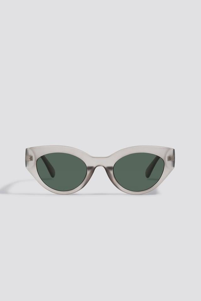 Grey Straight End Cat Eye Sunglasses