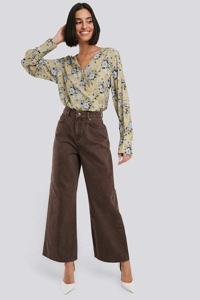 Straight Fit Cropped Jeans Brown