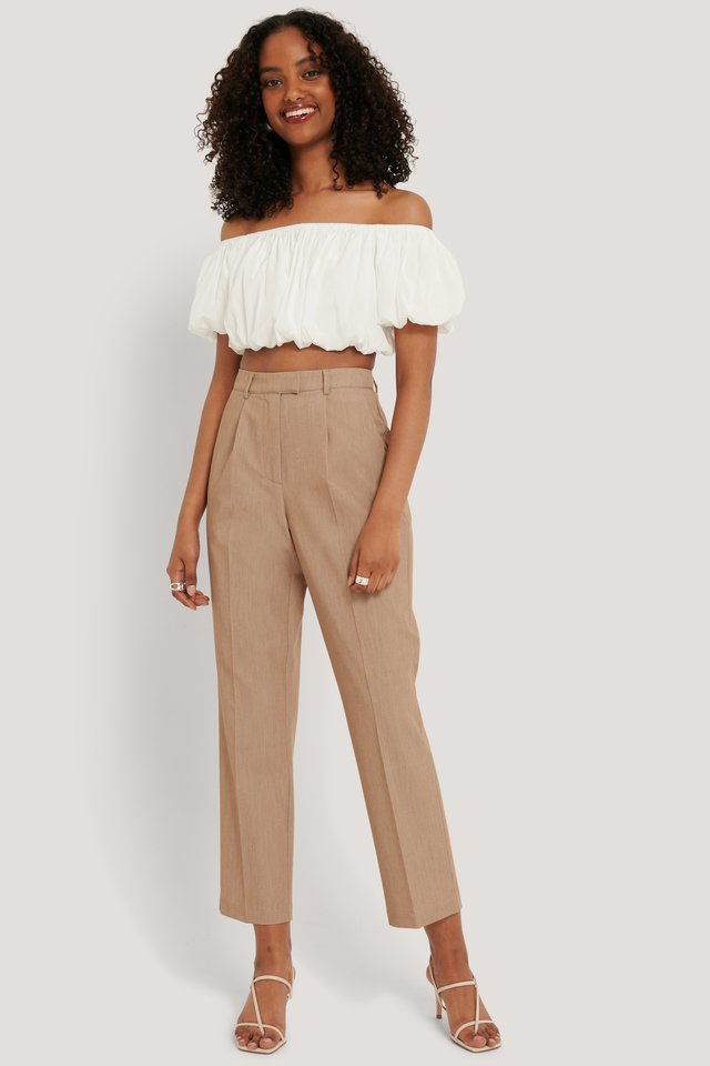 Beige Melange Straight Fit Suit Pants