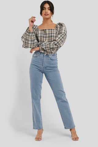 Light Blue Straight High Waist Jeans