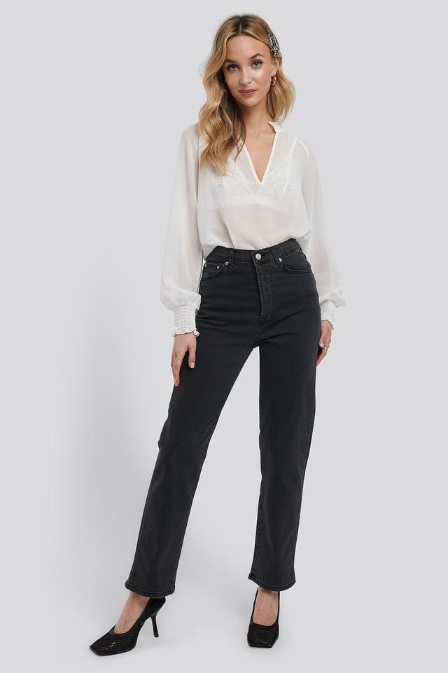 Straight High Waist Jeans Dark Grey