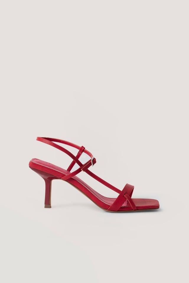 Chaussures À Talons Bouts Carrés Et Boucles Dusty Red