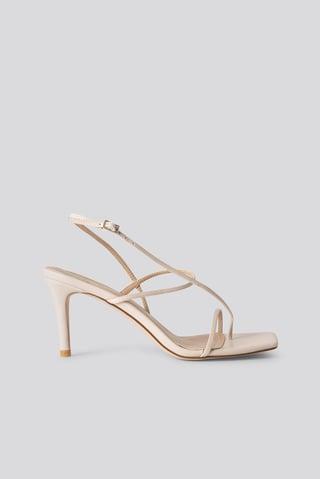 Nude Strappy Stiletto Sandals