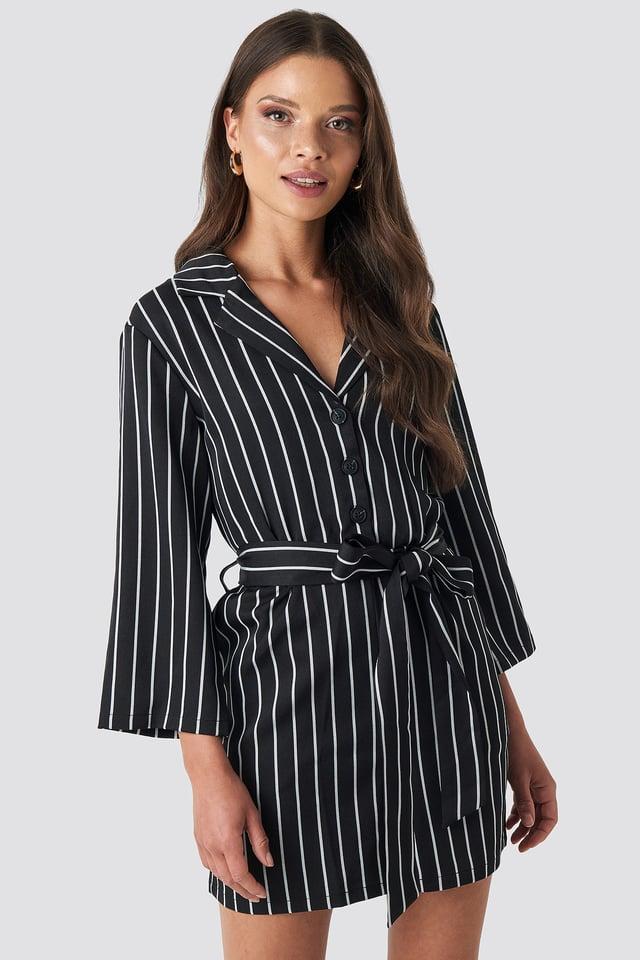 Striped Playsuit Black