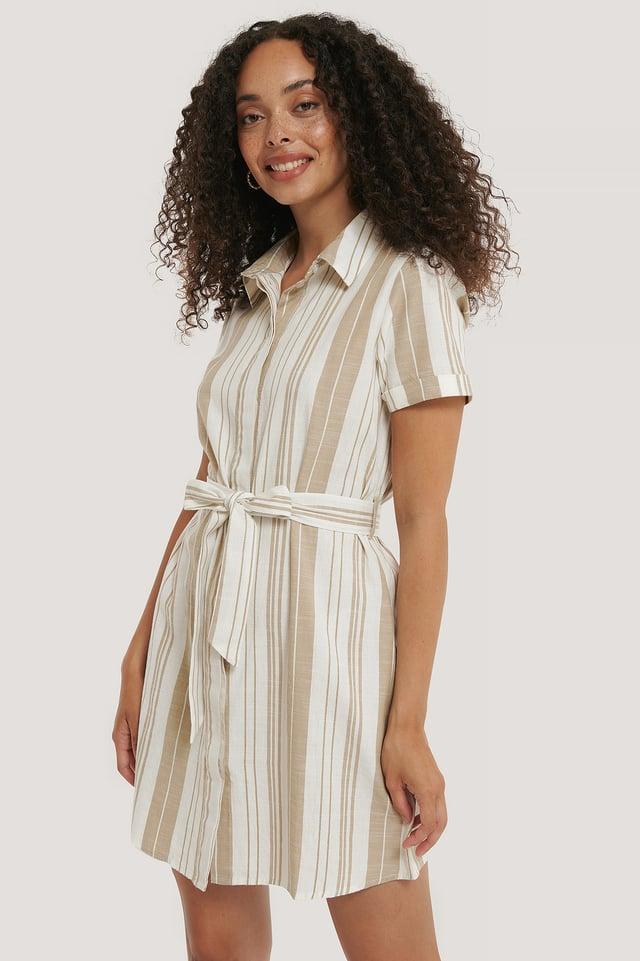 Robe À Nouer À La Taille Beige/White Stripe