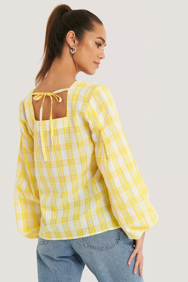Structure Check Blouse White/Yellow