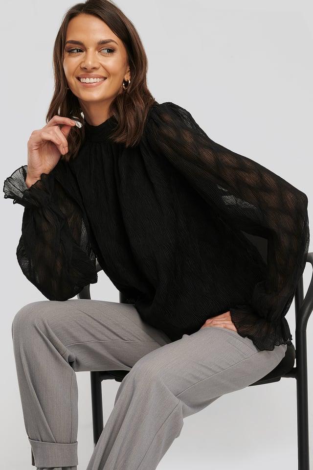 Structured Marked Shoulder Blouse Black