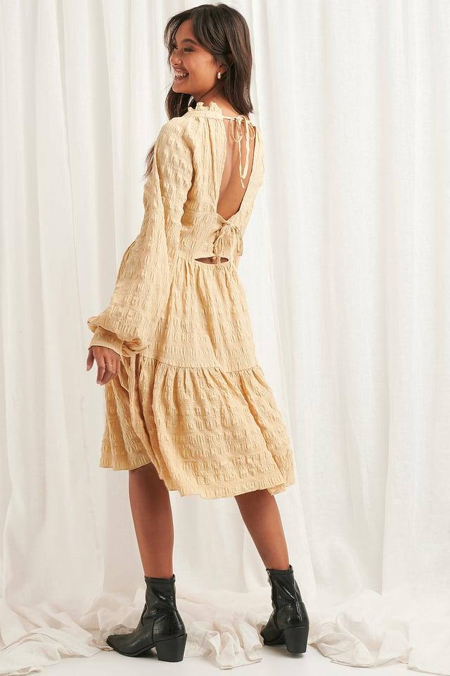 Structured Open Back Dress Beige