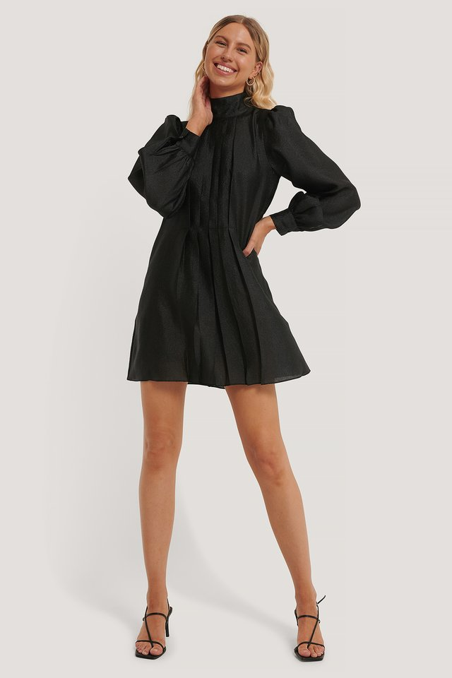 Structured Organza Gathered Mini Dress Black