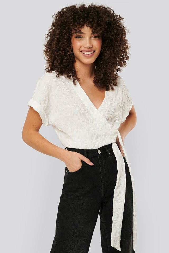 Structured Overlap Blouse White