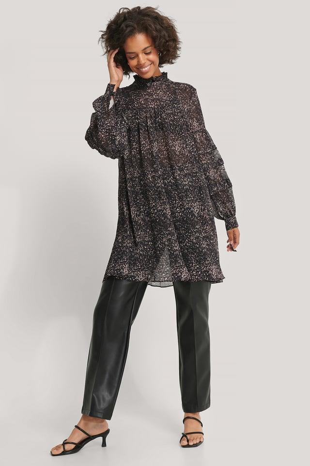 Robe Structurée Imprimée À Fleurs Leopard