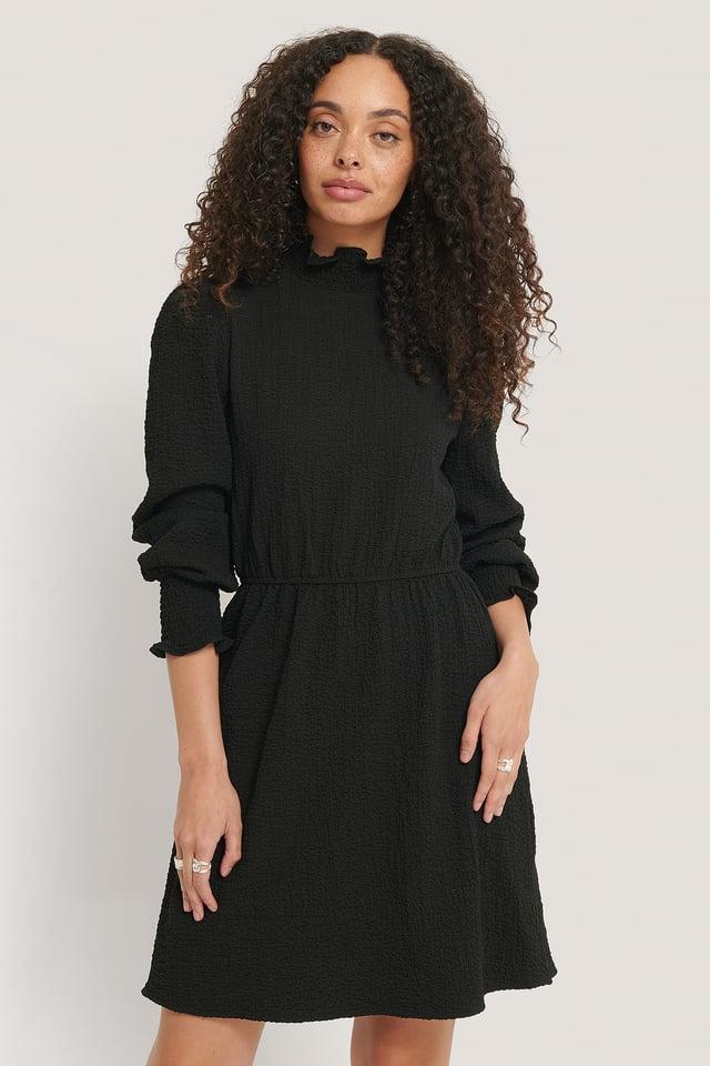 Structured Smock Detail Dress Black