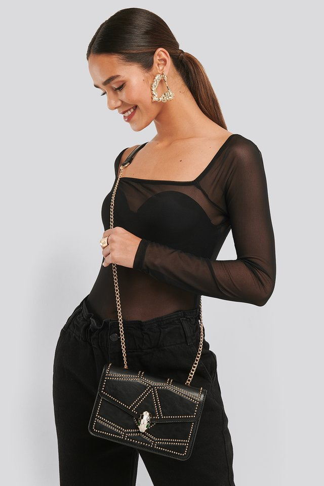 Studded Crossbody Chain Bag Black/Gold