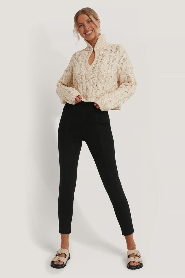 Black Pantalon Slim En Daim