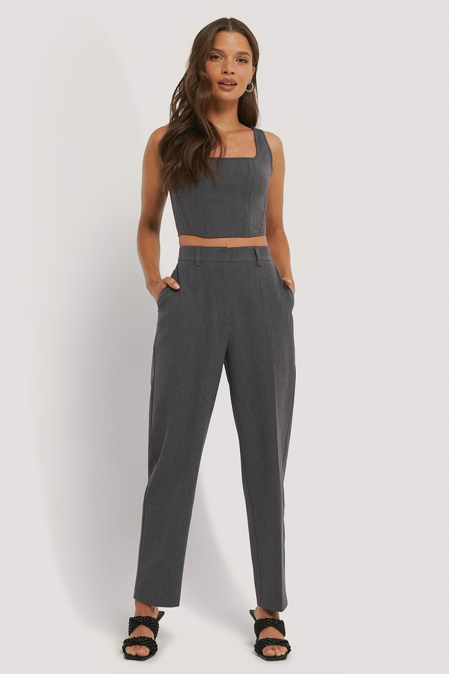 Dark Grey Pantalon De Costume