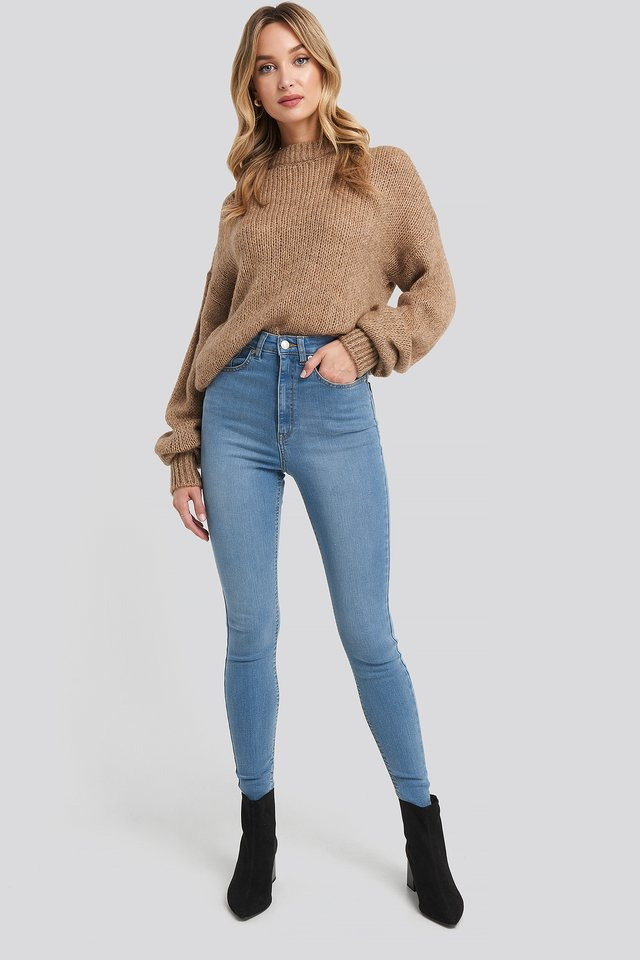 Super High Waist Skinny Jeans Light Blue