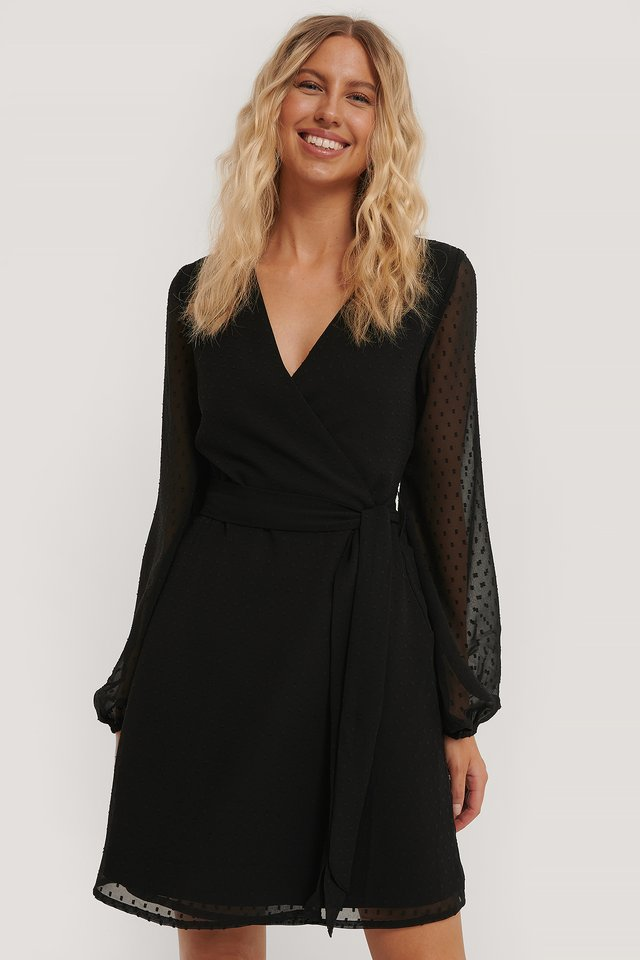 Swiss Dot Overlap Dress Black