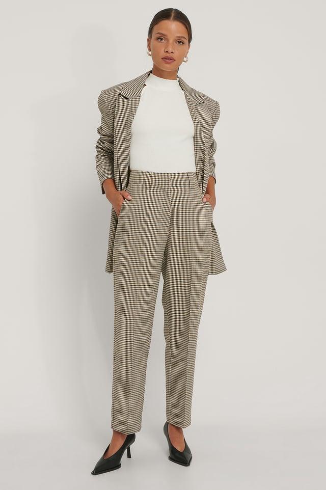 Pantalon Court Ajusté Brown Check