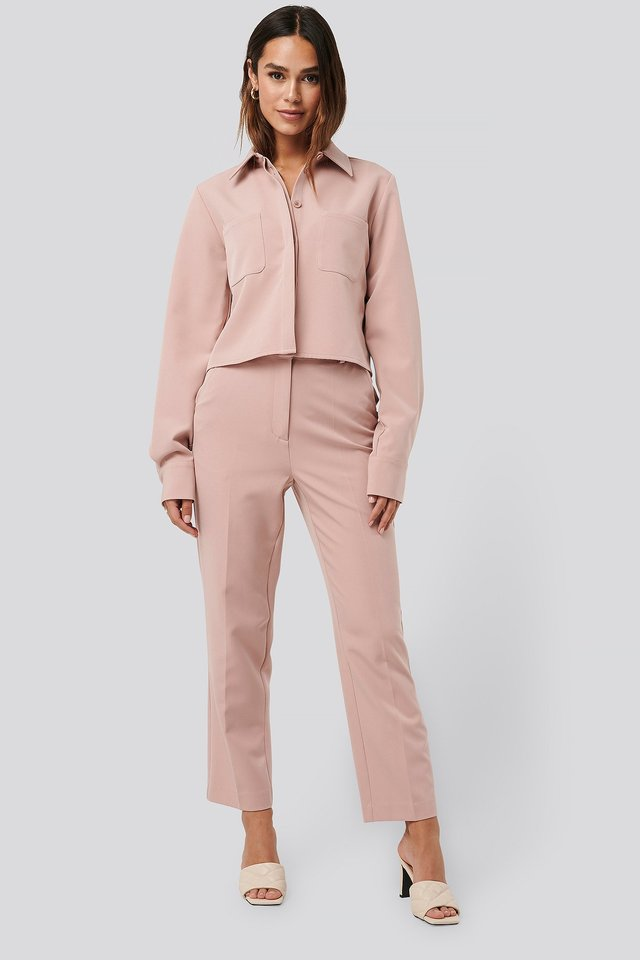 Dusty Pink Tailored Cropped Suit Pants