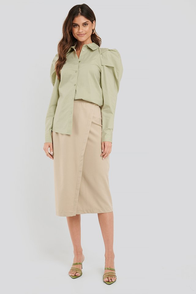Tailored Overlap Midi Skirt Beige