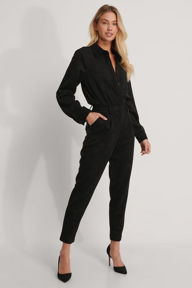 Pantalon Fuselé En Faux Daim Black