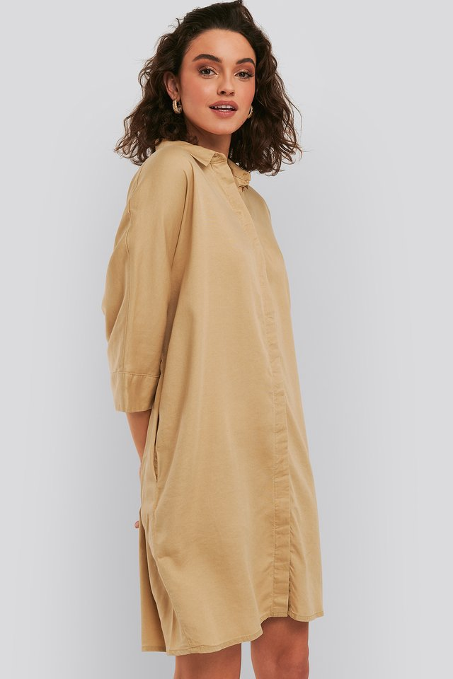 Tencel Boxy Short Sleeve Dress Tan