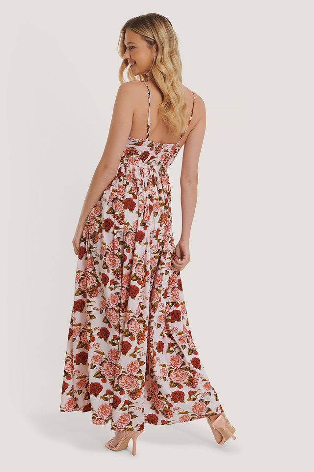 Maxi Robe Bretelles Fines Flower Print