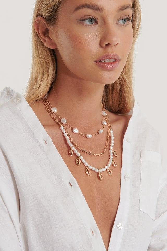 Collier À Perles Et Coquilles Trois Couches Gold