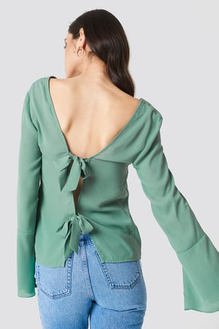 Duck Green Tie Back Wide Sleeve Blouse
