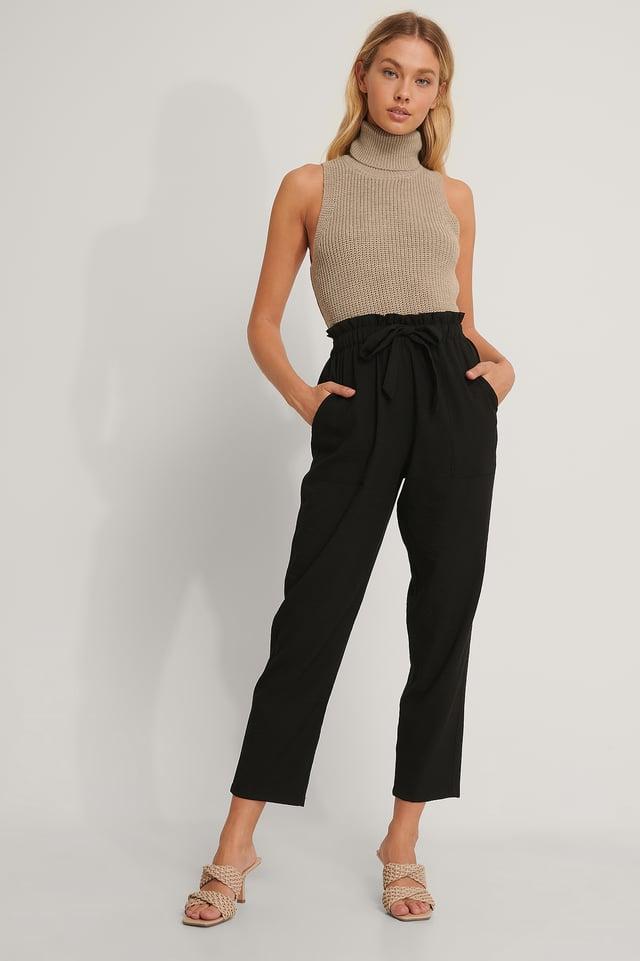 Black Pantalon À Ceinture Nouée