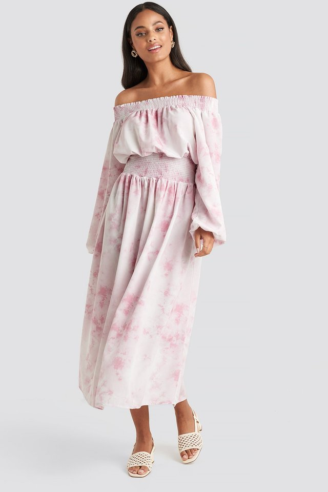 Beige Tie Dye Off Shoulder Midi Dress