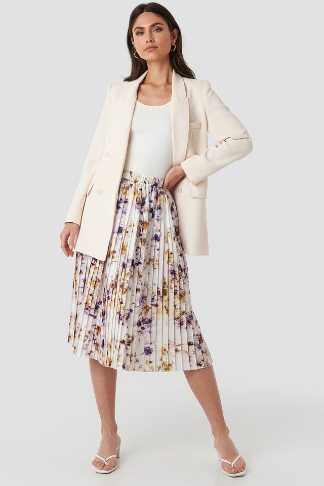 Tie Dye Print Pleated Midi Skirt Beige