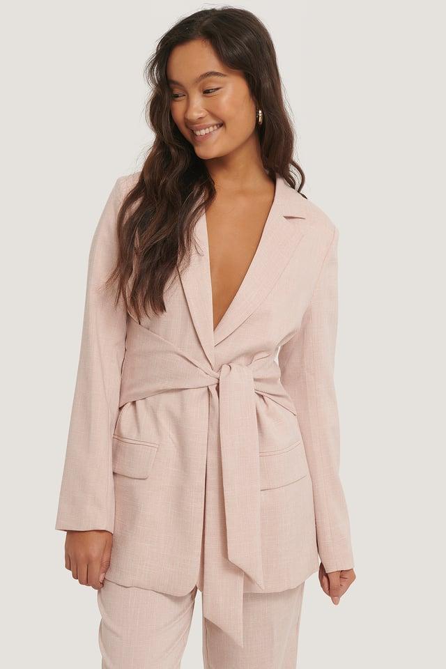 Tie Front Blazer Pink