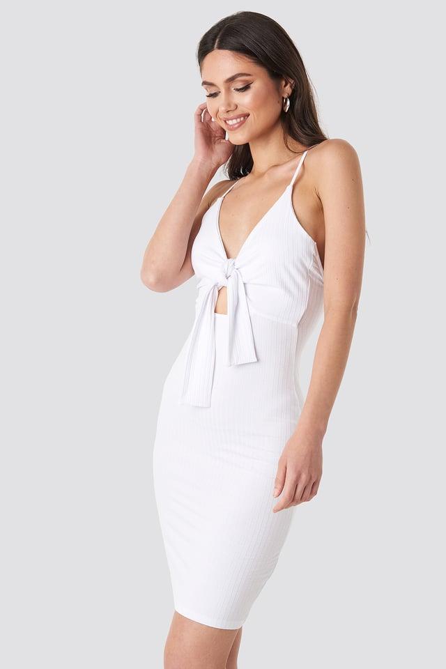 White Tie Front Ribbed Midi Dress