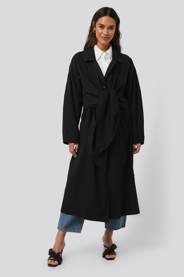 Tie Front Trench Coat Black