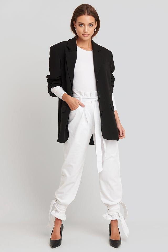 Tie Hem Paperbag Waist Jeans White