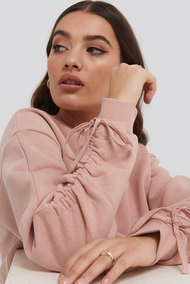 Pink Tie Sleeve Sweatshirt