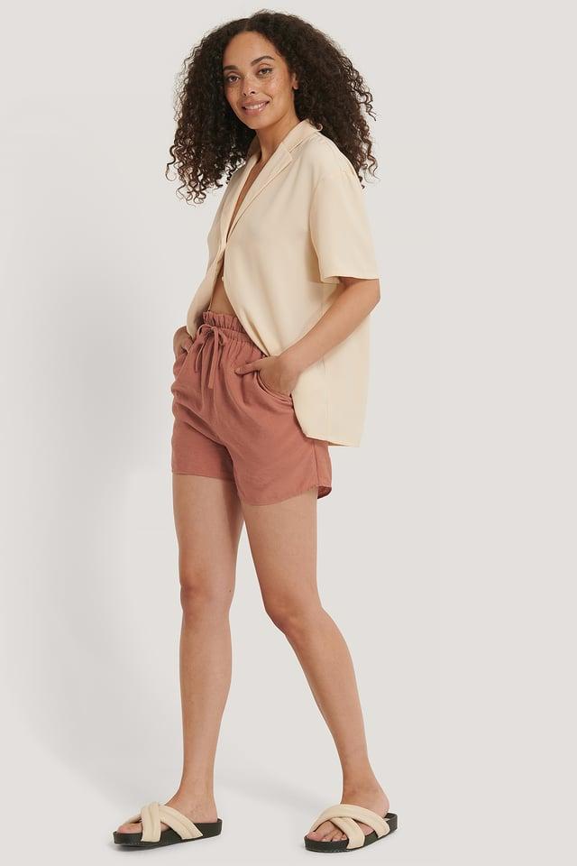 Shorts Taille Haute Dusty Dark Pink