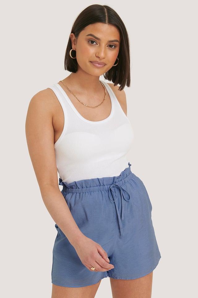 Shorts Taille Haute Stone Blue